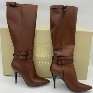 Burberry brown leather winter tall boots